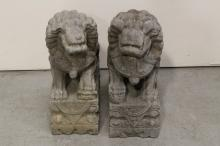 Pair stone carved fulion