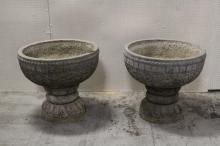 Pair large stone carved planter with stone stand