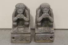 Pair stone carved seated monkeys