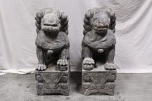 Pair large stone carved fulion