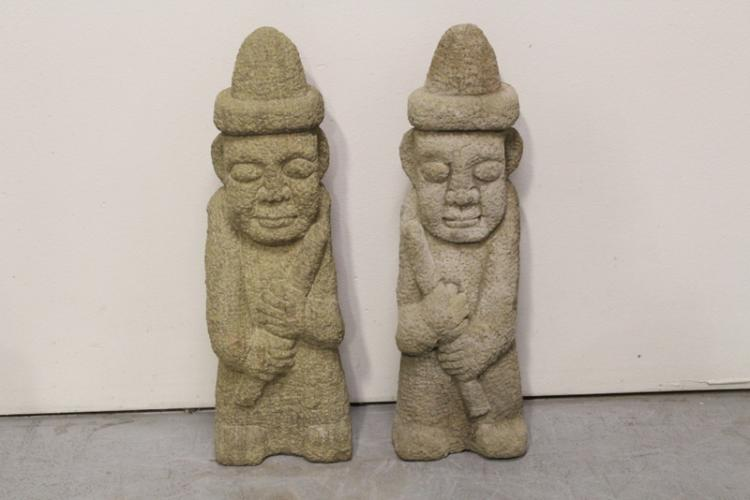 Pair unusual korean stone carved attendants
