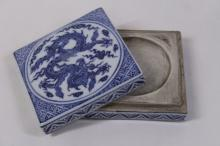 Chinese blue and white porcelain ink box