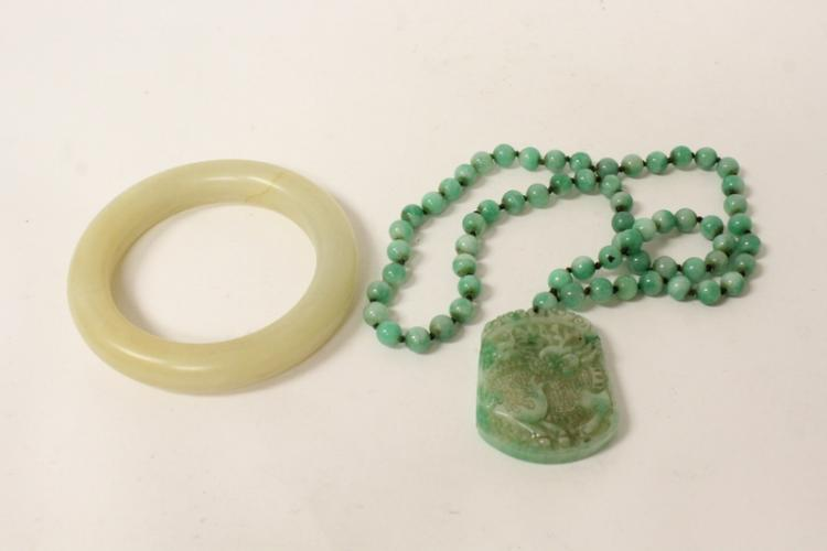 Chinese jade bangle bracelet, & a bead necklace