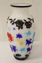 Chinese multi-color overlay Peking glass vase
