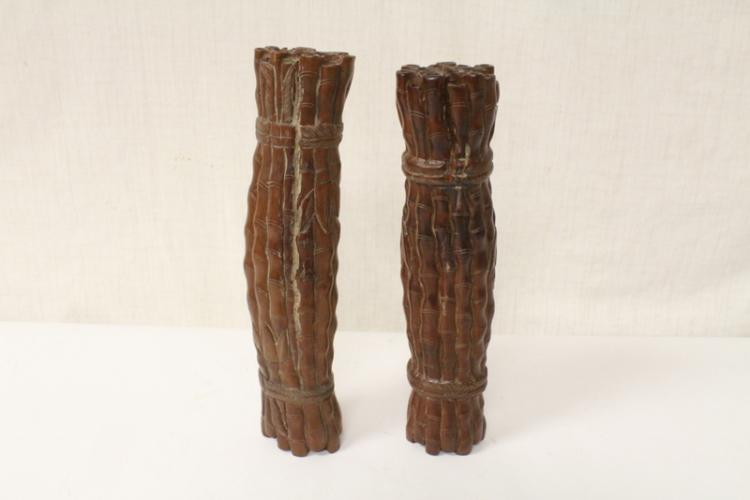 Pair Chinese wood carved scroll weights