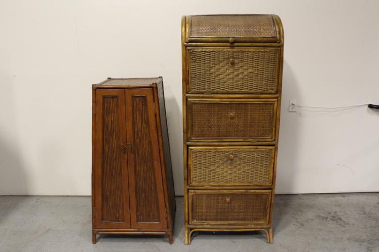 2 Chinese bamboo storage cabinets