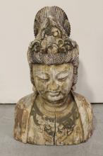 Chinese wood carved Buddha's bust