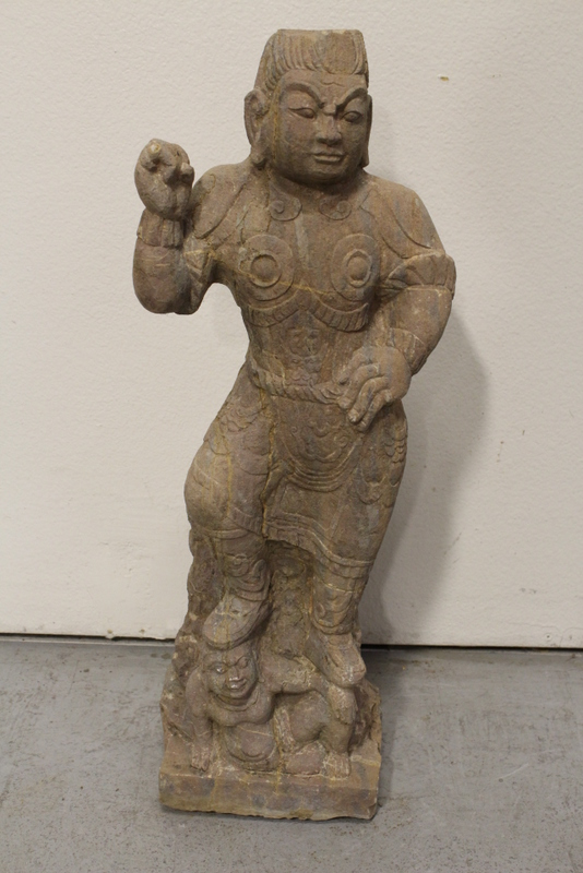 Chinese stone carved standing warrior