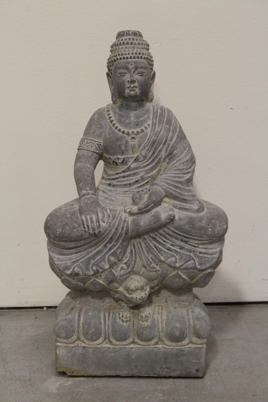 A fine Chinese stone carved seated Buddha