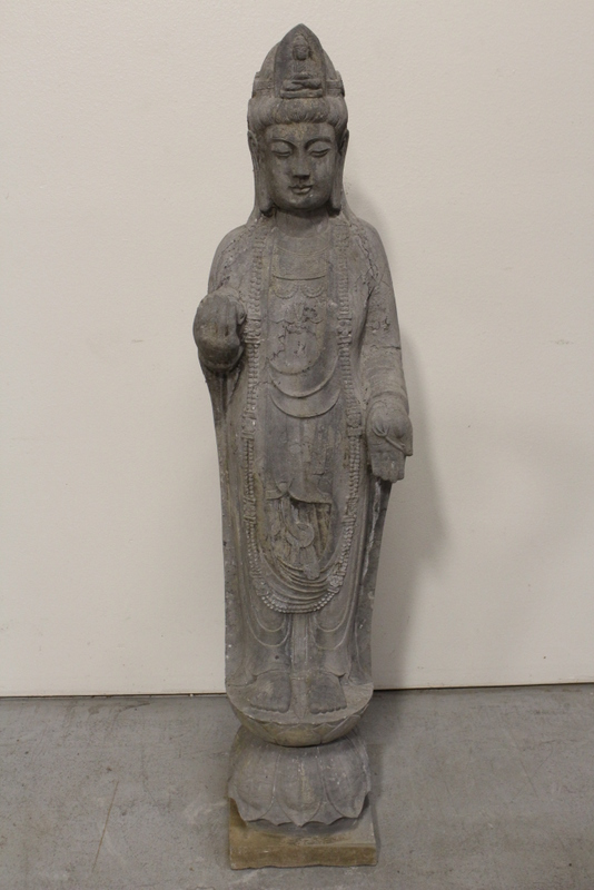 Chinese stone carved life size standing Buddha