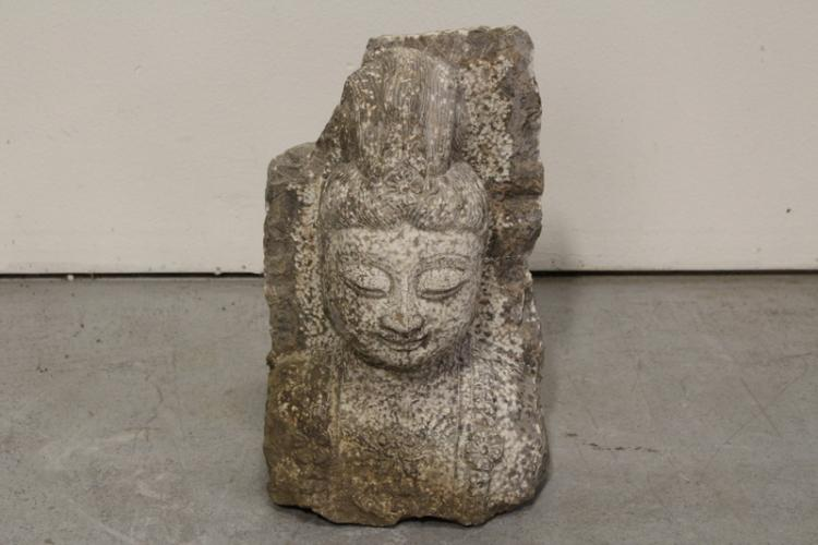 Chinese stone carved Buddha bust