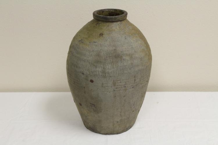 Antique Chinese glazed pottery storage jar