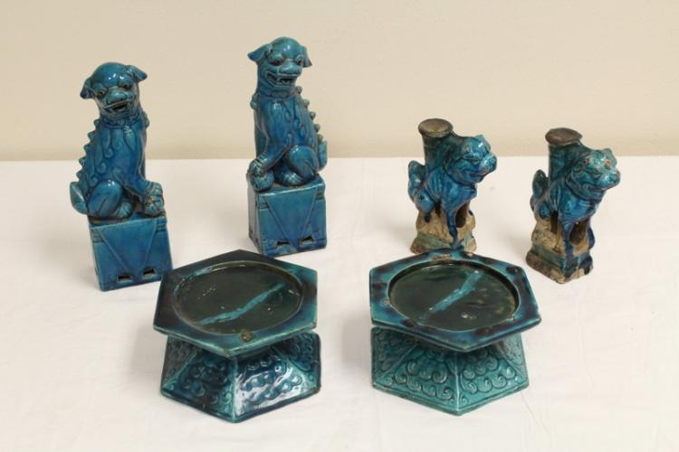 6 turquoise glazed pottery pieces