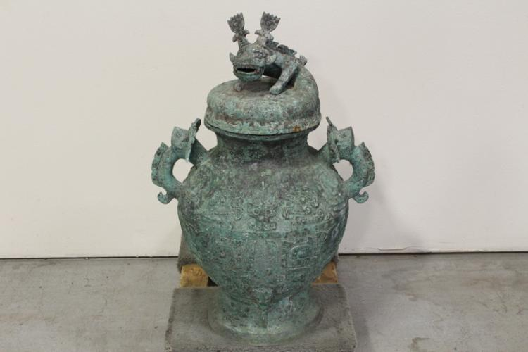 A massive Chinese bronze covered jar