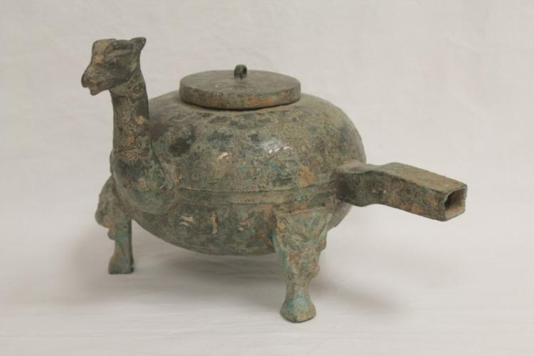 Chinese bronze wine server w/ silver like inlaid