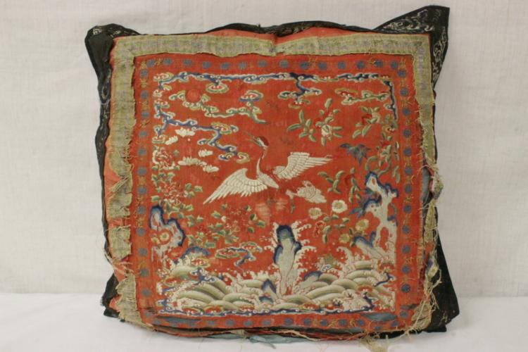 Chinese antique embroidery panel made as pillow