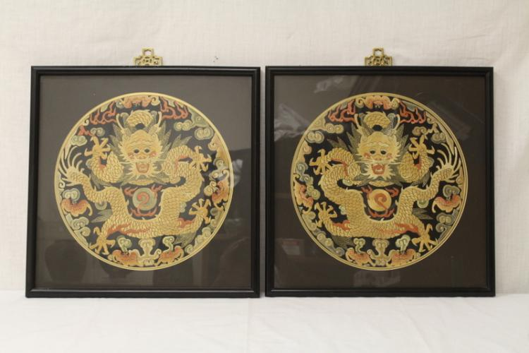 Pair framed embroidery panels in dragon motif