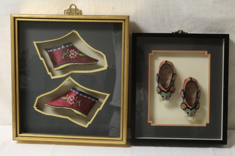 2 framed Chinese embroidery lady's shoes