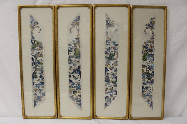 4 Chinese framed embroidery panels