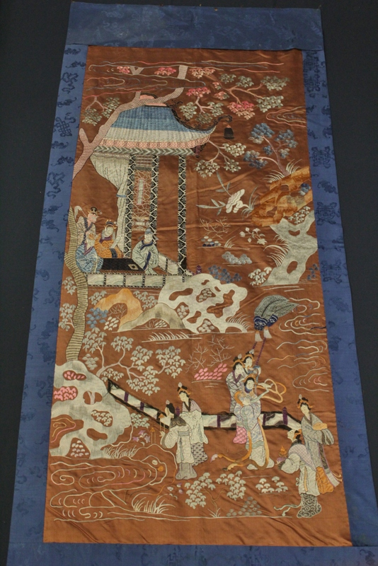 A large Chinese antique embroidery panel