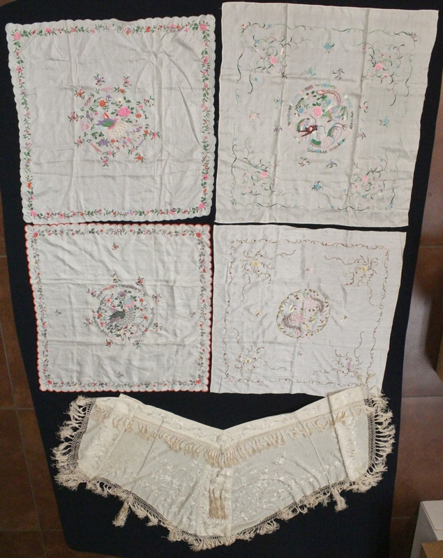 5 Chinese antique embroidery pieces