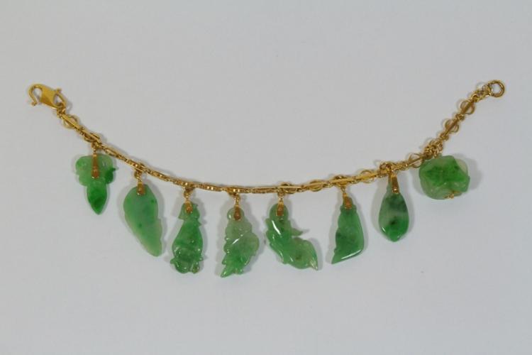 22K Y/G jadeite charm bracelet