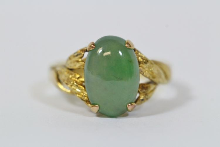14K rose gold jadeite ring