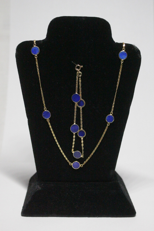 14K Y/G necklace an bracelet with lapis plaque