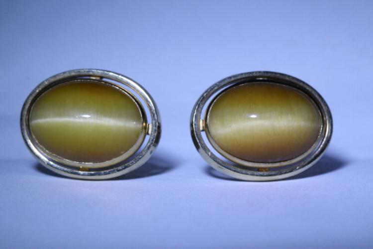 Pair gold filled cuff links w/ natural quartz cats eye