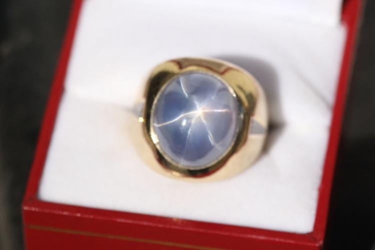 An important 14K Y/G star sapphire diamond ring