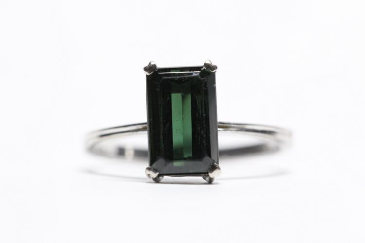 18K W/G green tourmaline ring