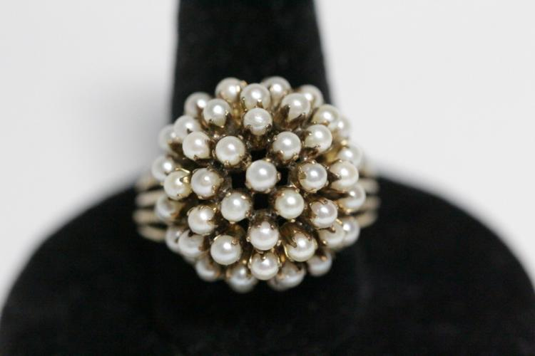 Victorian 14K Y/G ring set with seed pearls