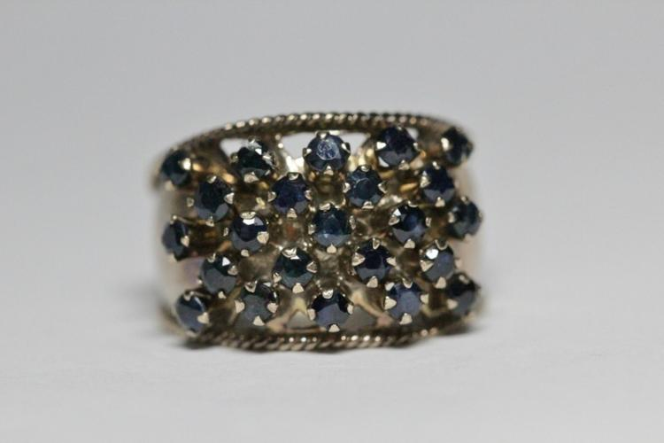 Victorian 10K gold ring set with small sapphires