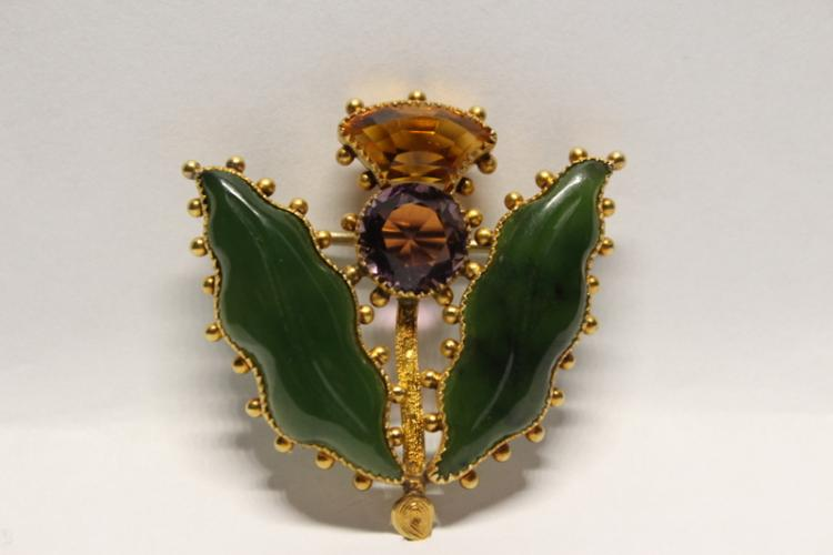 Vict. 15K brooch w/ amethyst, citrine and 2 jade