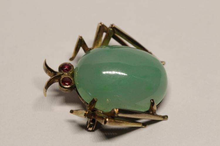 Victorian 14K Y/G jadeite ruby brooch