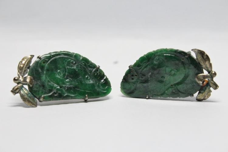 Pair Chinese antique silver jadeite earrings