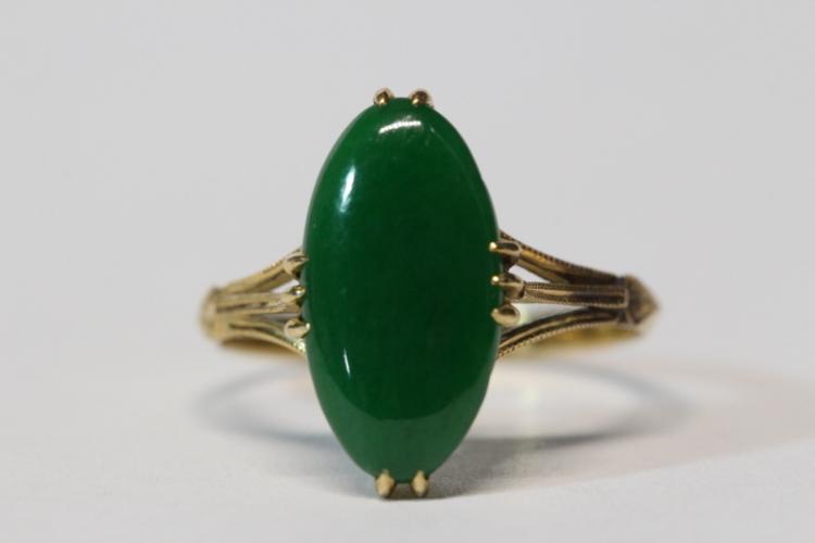 18K Y/G jadeite ring