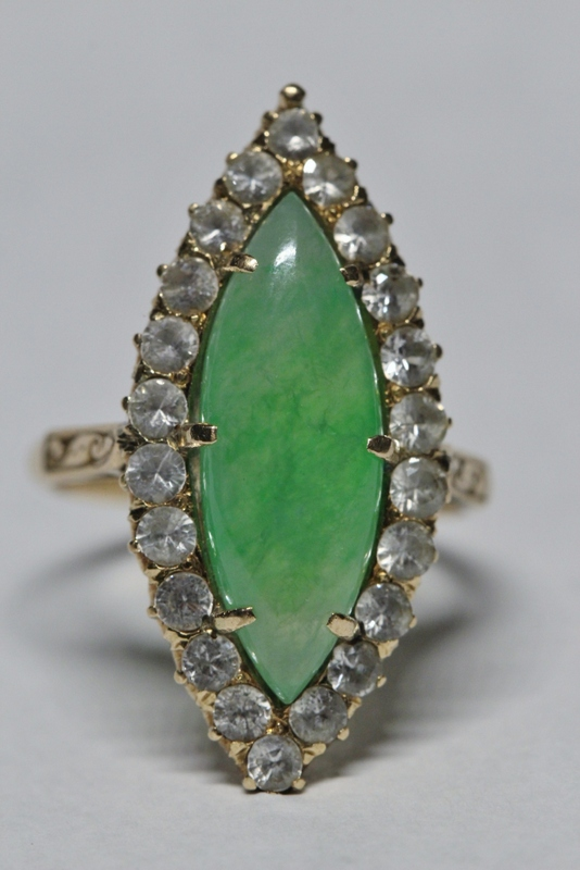 Beautiful 14K Y/G jadeite ring