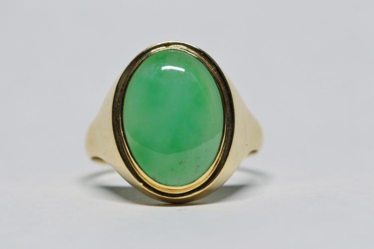 14K Y/G jadeite ring