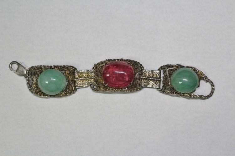Chinese silver tourmaline jadeite bracelet