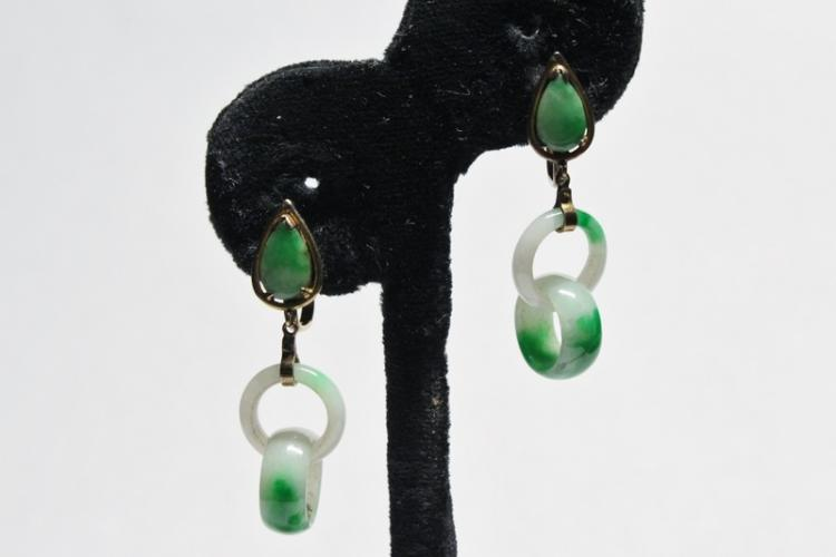 Pair Chinese antique jadeite earrings