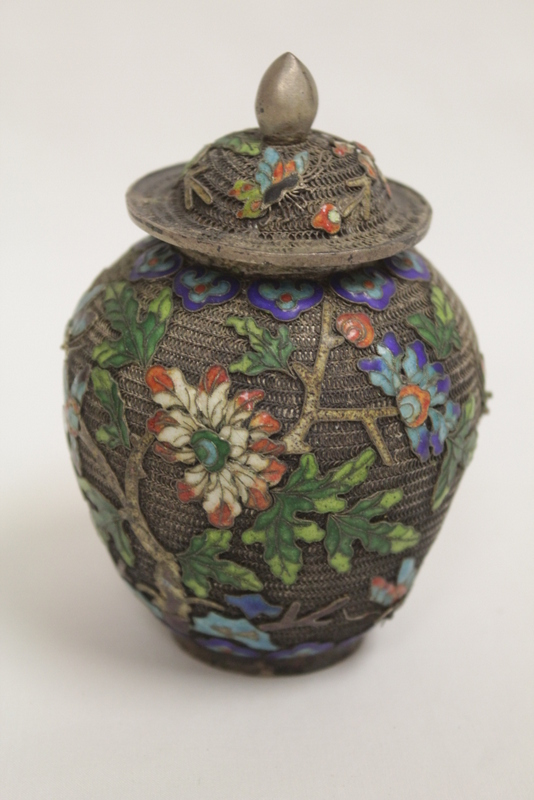 Chinese silver like miniature enamel covered jar