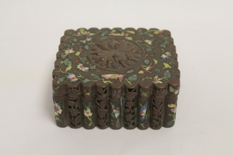 Chinese antique bronze/copper enamel box