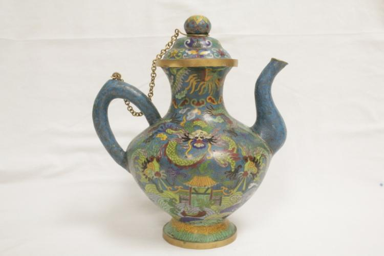 Chinese 19th/20th century cloisonne teapot