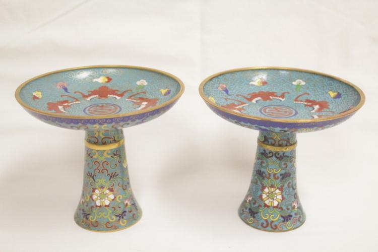 Pair Chinese cloisonne cups w/ maker's signature