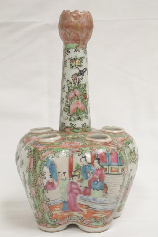 Chinese antique famille rose 5-hole porcelain vase