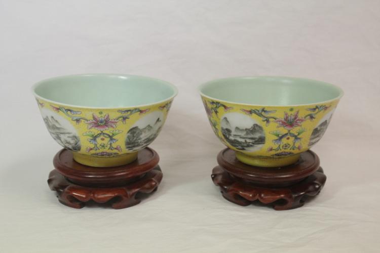 Pr Chinese famille rose bowls, Yungzheng mark