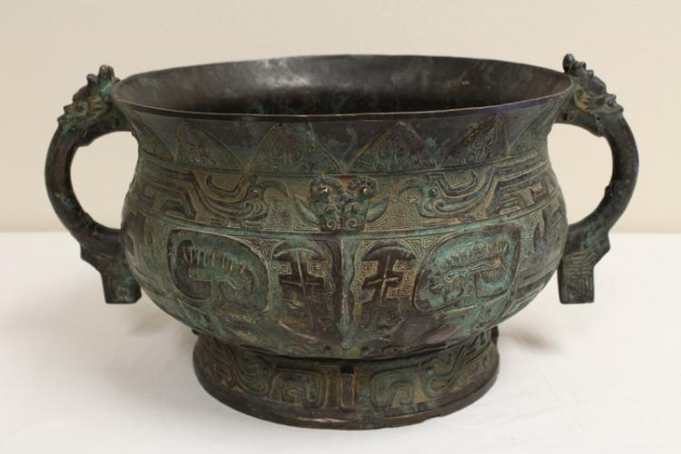 Chinese archaic bronze style handled ritual jar