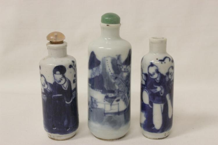 3 Chinese antique b&w porcelain snuff bottles