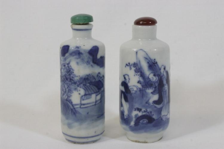 2 Chinese antique b&w porcelain snuff bottles